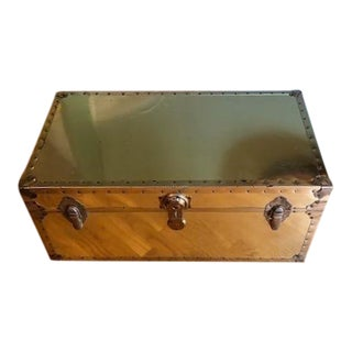 1970s Vintage Brass Gold Steamer Trunk For Sale