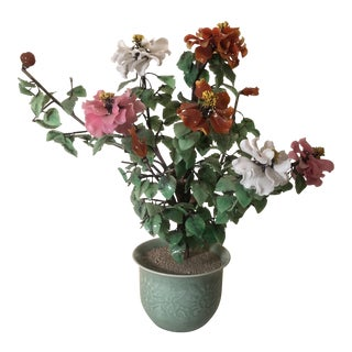 Chinese Jade Tree Glass Flower Sculpture For Sale