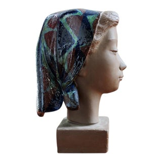 Girl With Scarf Vintage Danish Modern Sculpture - Johannes Hedegaard for Royal Copenhagen For Sale