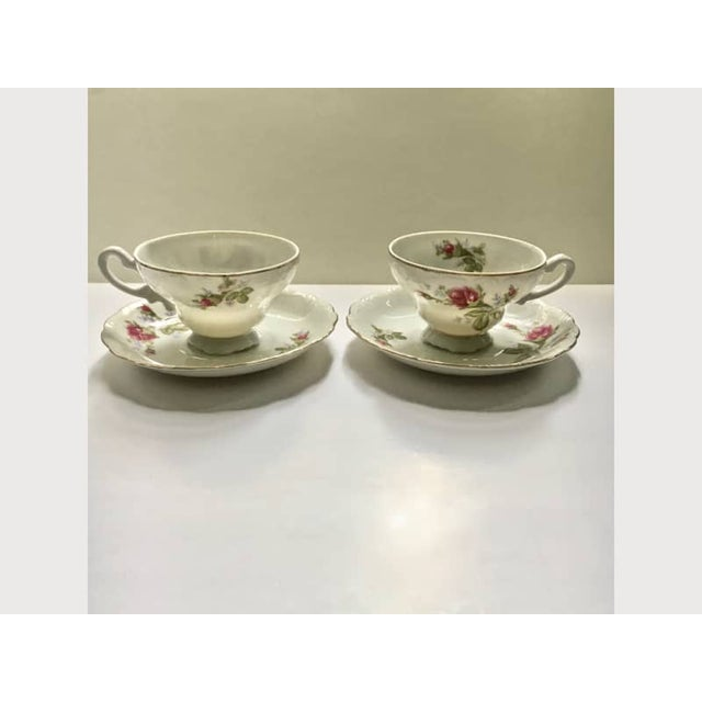 Traditional Footed Moss Rose Bone China Tea Cups - Service for 2 For Sale - Image 3 of 12