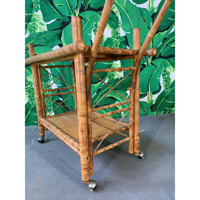 1960s Collapsible Tiger Bamboo Bar Cart For Sale - Image 5 of 11