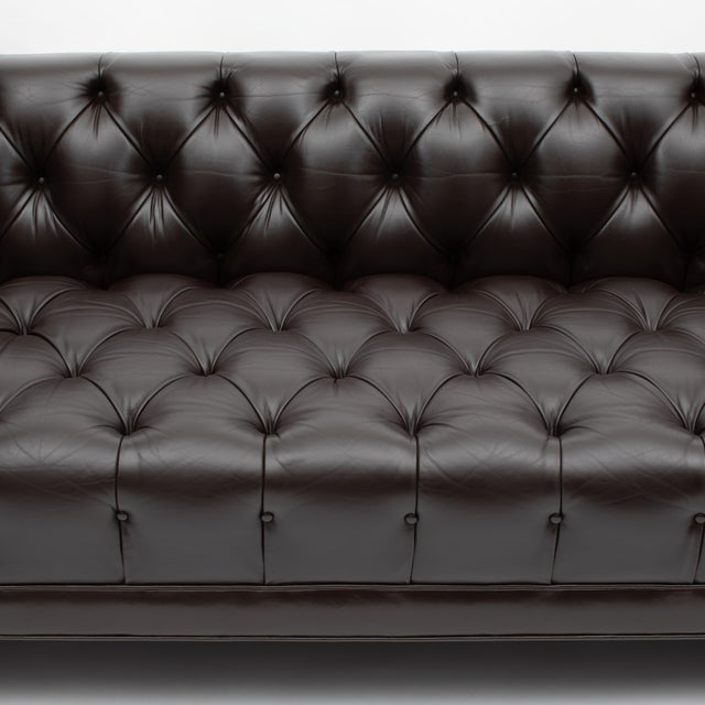 1960s Ward Bennett Button-Tufted Leather Sofa for Lehigh Furniture, Circa 1960s For Sale - Image 5 of 13
