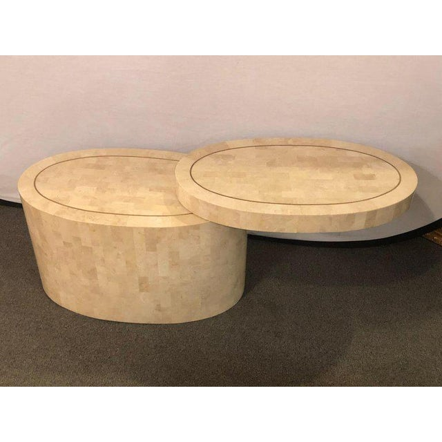 Hollywood Regency 1980s Hollywood Regency Tessellated Bone Swivel Expanding Coffee Table For Sale - Image 3 of 9