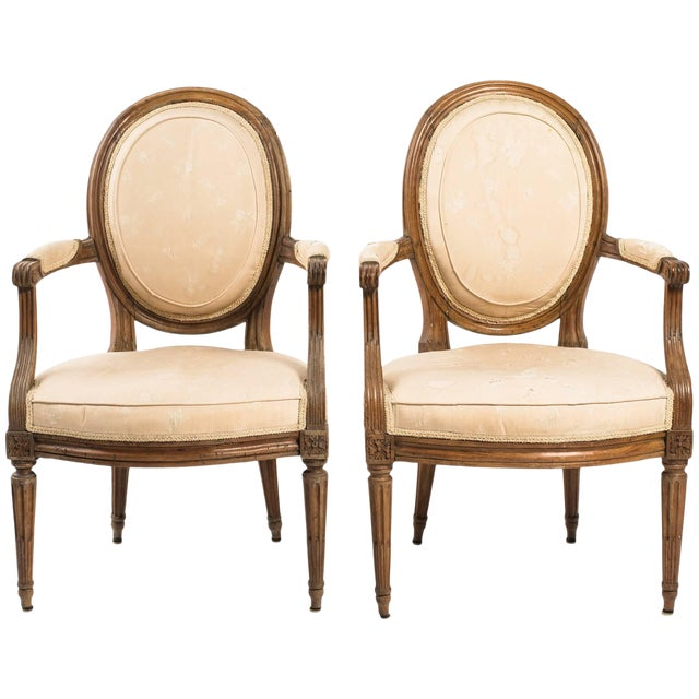 19th Century Vintage French Louis XVI Armchairs- a Pair For Sale