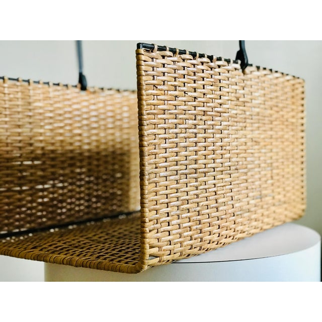 Metal Mid Century Rattan and Iron Magazine Rack For Sale - Image 7 of 12