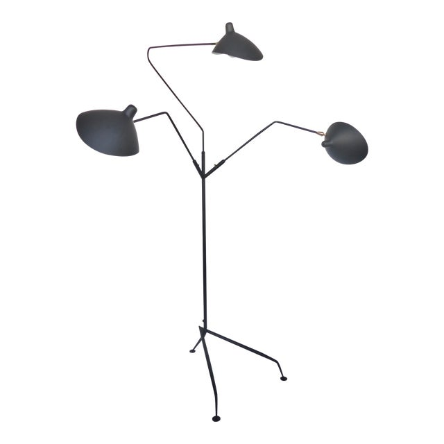 Serge Mouille Style Three Arm Floor Lamp With European Electrical Plug For Sale - Image 10 of 10
