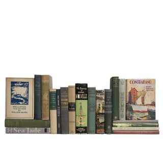 Vintage Nautical Book Set in Green & Beige, S/20 For Sale
