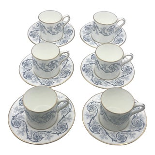 Wedgwood Florentine/Patrician Style Demitasse Cups and Saucers Service for 6 For Sale