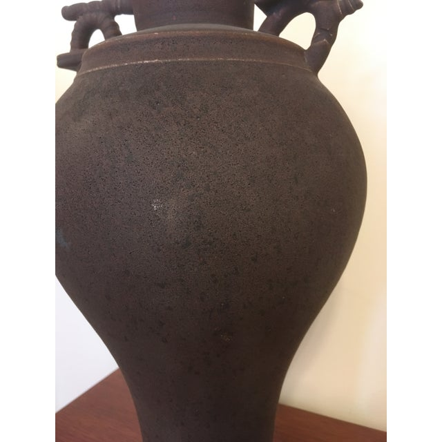 1960s Vintage Japanese Chinese Oriental Ceramic Pottery Jar Urn For Sale - Image 5 of 13