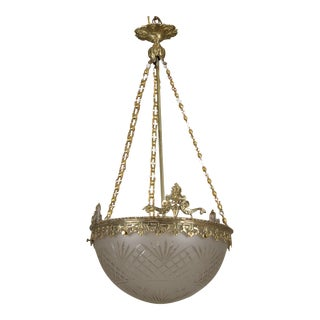 French Gilt Bronze and Etched Glass Dome Hanging Fixture For Sale