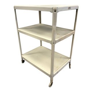 Vintage Mid Century Modenr White 3 Tier Rolling Cart by Cosco For Sale