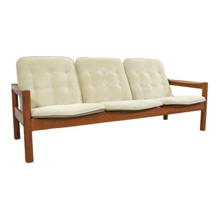 Mid-Century Danish Modern Domino Mobler Tufted Teak 3-Seat Sofa For Sale
