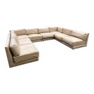 Vintage Donghia Contemporary Tan Leather Sectional Sofa For Sale