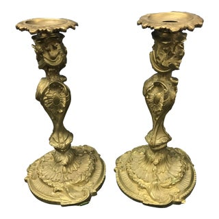 Louis XV Style Brass Candlesticks - a Pair For Sale