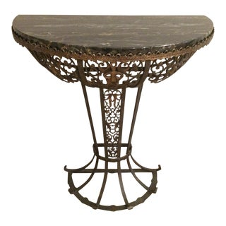 Oscar Bach Iron & Black Marble Demilune Console Table For Sale