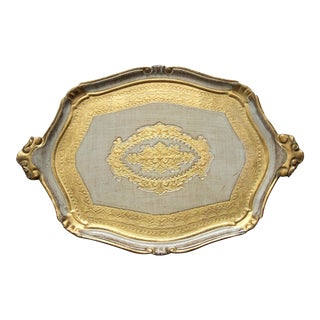 Gilt and Silver Italian Florentine Tray For Sale