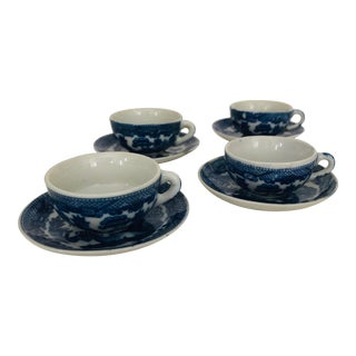 """Mid-Century Miniature """"Blue Willow"""" Ceramic Teacups & Saucers - Service for Four For Sale"""