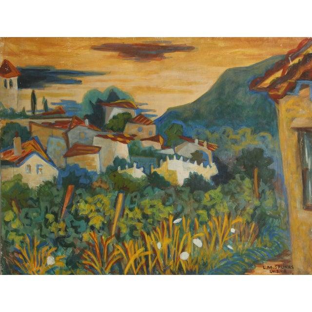 Laurent Marcel Salinas, Mirmande, Oil on Masonite For Sale