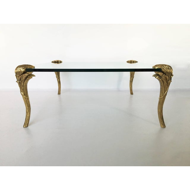 Hollywood Regency p.e Guerin Gilt Bronze and Glass Coffee Table For Sale - Image 3 of 8