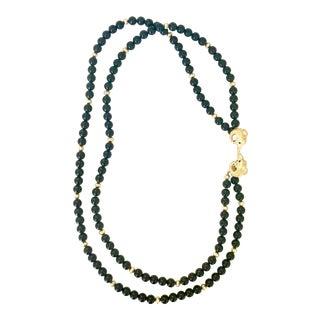Kenneth Jay Lane Black Onyx Ram's Head Necklace For Sale