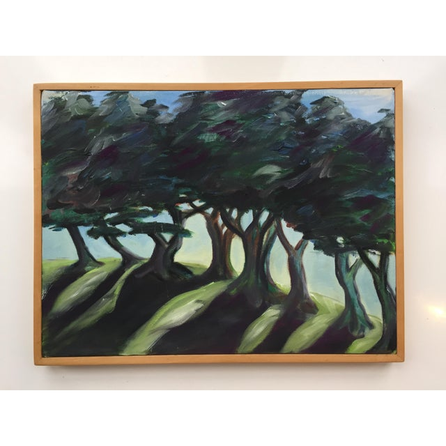 Landscape Painting of Trees on Framed Canvas For Sale - Image 4 of 8
