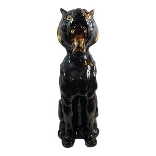 Mid Century Black Cat Statue Asian Panther Floor Sculpture For Sale