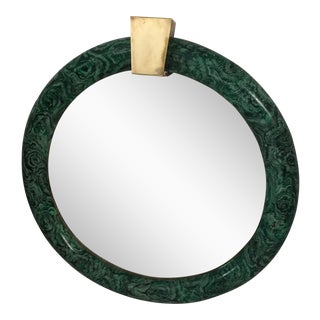 1970s Contemporary Faux Malachite Mirror