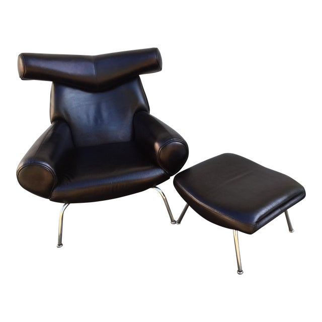 Hans Wegner Ox Lounge Chair With Ottoman - A Pair For Sale