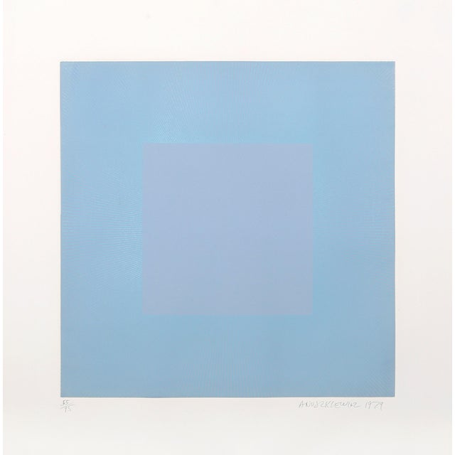 """Abstract Richard Anuzkiewicz, """"Winter Suite"""" (Light Blue & Blue), Op Art Etching For Sale - Image 3 of 3"""