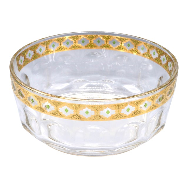 1970s French Crystal Glass Bowl with Gold Trim on Top For Sale