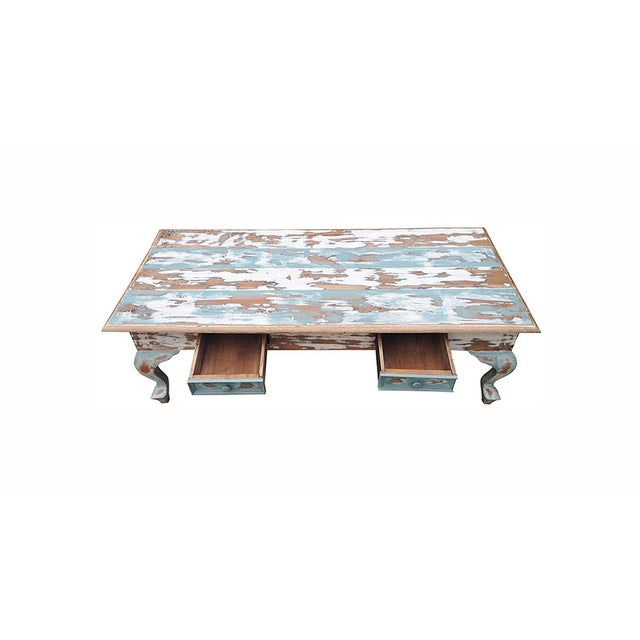 Distressed Coffee Table in Blue and White - Image 4 of 4