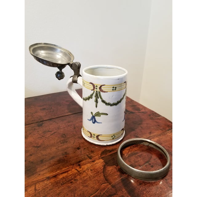 Yellow Circa 1741 Rouen French Faience Plate and Beer Stein For Sale - Image 8 of 11