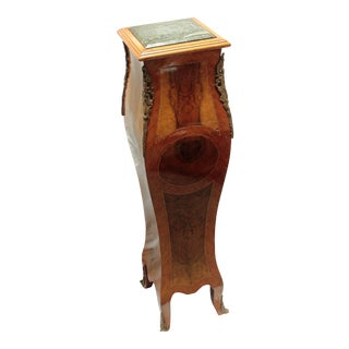 Mid-20th Century Italian Marble Top Mahogany & Burl Pedestal Stand For Sale