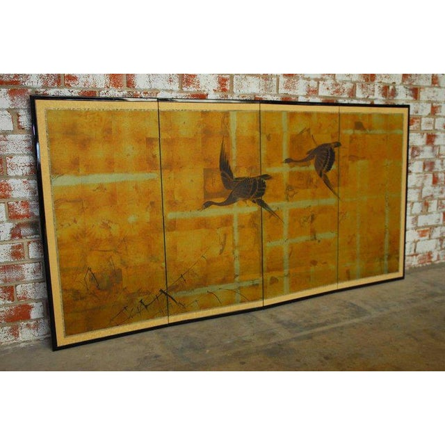 Japanese Four-Panel Byobu Screen Autumn Geese For Sale - Image 9 of 11