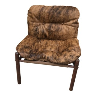 Vintage Mid Century Arne Norell Brindle Brazilian Cow-Hide Upholstered Safari Chair For Sale