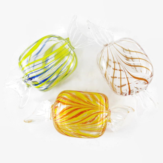 Contemporary Murano Style Glass Candy Paperweights - Set of 6 For Sale - Image 3 of 11