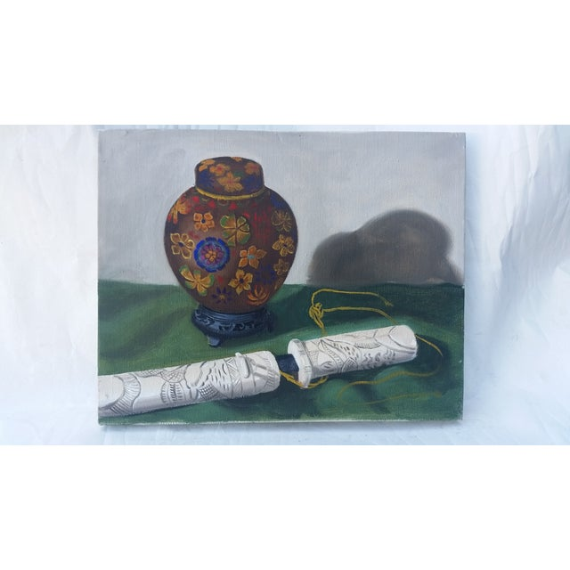 Ginger Jar and Dagger Still Life Painting - Image 2 of 3