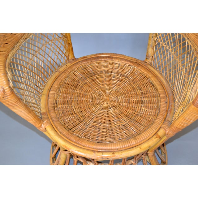 Vintage Boho Chic Handcrafted Wicker, Rattan and Reed Peacock High Back Chair For Sale In Miami - Image 6 of 13