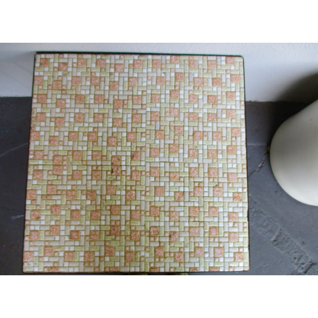 Mosaic Mid-Century Modern Orange and White Coffee Table Patio Furniture - Image 4 of 11