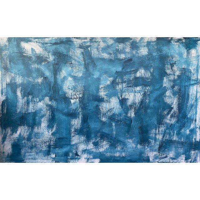 """""""Untitled in Blue"""" Contemporary Abstract Acrylic Painting by Sarah Trundle For Sale"""
