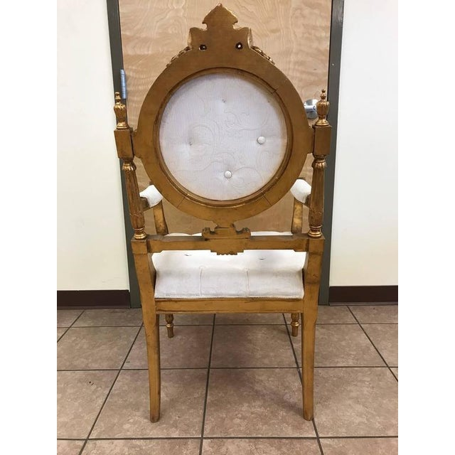 12 French Giltwood Neoclassical Style Dining Chairs For Sale - Image 4 of 10