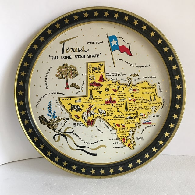 Vintage 1960 Texas Tin Tray For Sale - Image 9 of 9