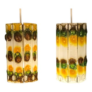1960s Fused Glass Barrel Shaped Pendants - a Pair For Sale