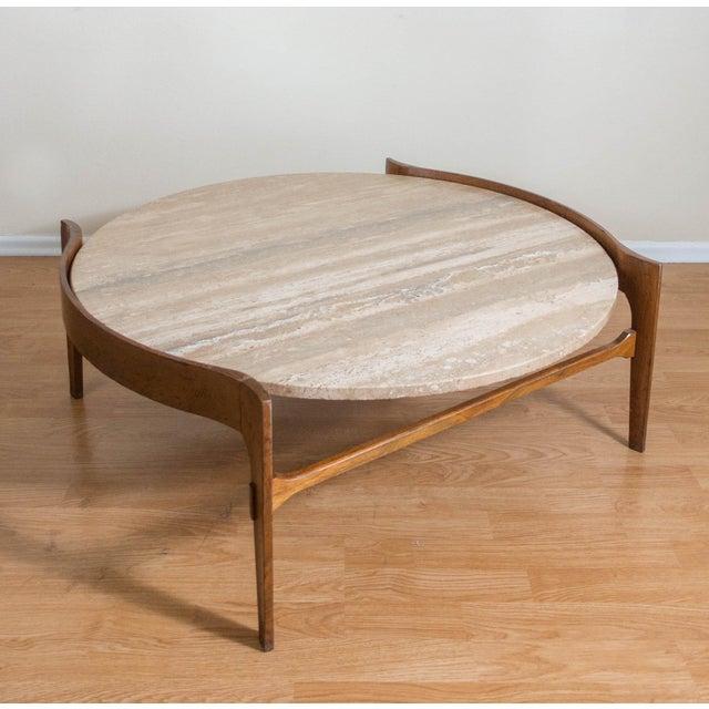 Bertha Schaefer Travertine & Walnut Coffee Table For Sale In Dallas - Image 6 of 12