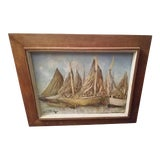 Image of Vintage Haitian Boat Scene Oil Painting by Ernst Louiszor For Sale