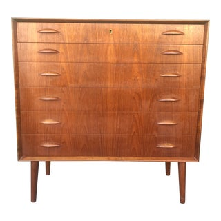1960s Danish Modern Highboy Chest of Drawers With Lock and Key For Sale