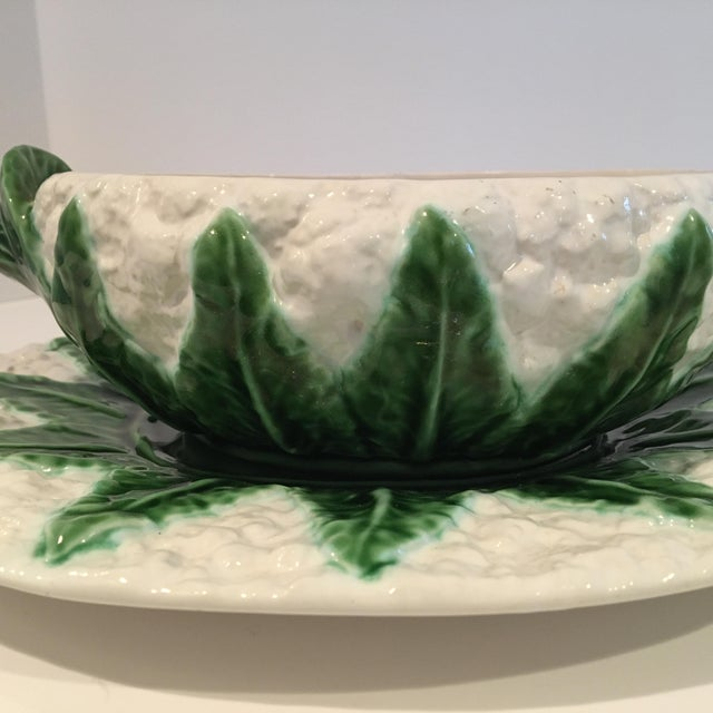 Vintage Majolica Cauliflower Tureen Made in Portugal - 4 Piece Set For Sale - Image 10 of 13