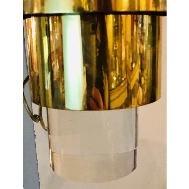 1950s Pair of Mid-Century Modern Karl Springer Brass and Lucite Wall Sconces For Sale - Image 5 of 12
