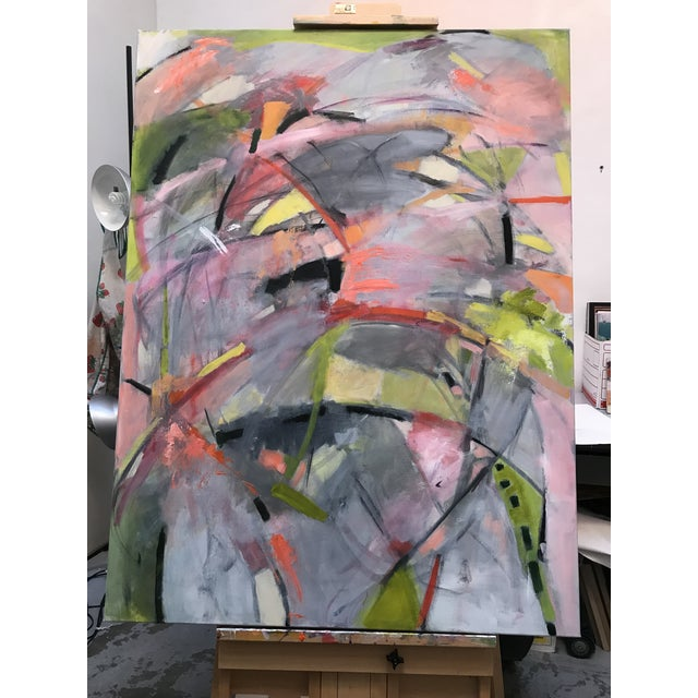 This is a large painting with vivid colors. Bright pinks and greens against a grey background. This painting reminds me of...