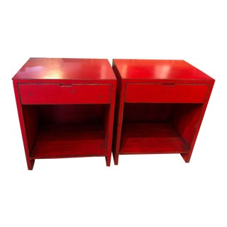 Distressed Red Nightstands - A Pair For Sale